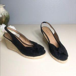 TALBOTS Black Wedge / Open toe. Size7 1/2